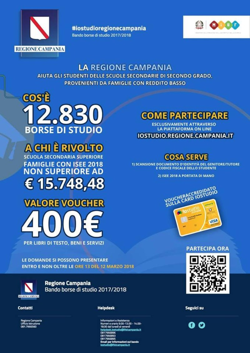 Borse di studio erogate dalla Regione Campania